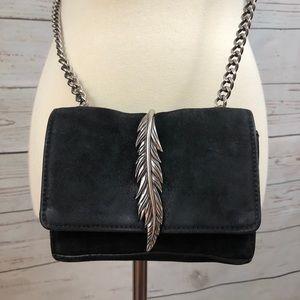 Zara Suede Feather Boho Crossbody Purse
